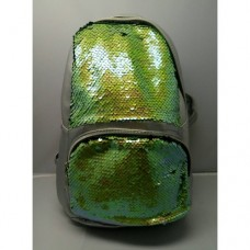 Женский рюкзак с пайетками 21Х25 см Серый с салатовыми пайетками